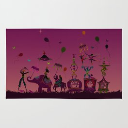 colorful circus carnival traveling in one row at night Rug