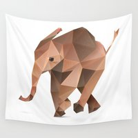 low poly Wall Tapestries featuring Low Poly Elephant by The animals moved to - society6.com/dian