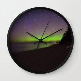 Northern Lights by Lake Michigan Beach Wall Clock