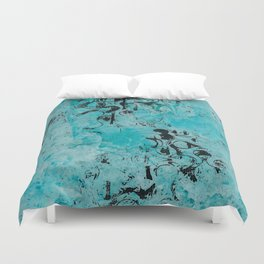 Turquoise Marble Stone with Black Ink overlay design Duvet Cover