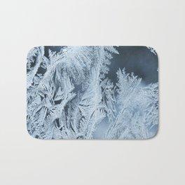White Ice Crystals On Blue Background #decor #society6 #homedecor Bath Mat