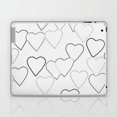 Black and White R Hearts Laptop & iPad Skin