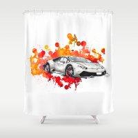 lamborghini Shower Curtains featuring Lamborghini Huracan by Claeys Jelle Automotive Artwork