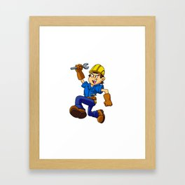 Running man with a wrench Framed Art Print