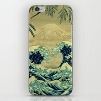 blanket iPhone & iPod Skins featuring The Great Blue Embrace at Yama by Kijiermono