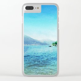 Lago di garda in watercolor Clear iPhone Case