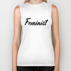 Feminist (on white) Biker Tank