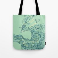 waves Tote Bags featuring Ocean Breath by Huebucket