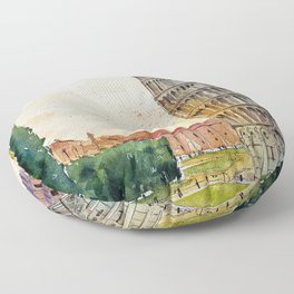 Leaning Tower of Pisa, Italy | Watercolor Floor Pillow