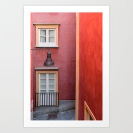 Colored yellow and red buildings, typical Mediterranean style Art Print