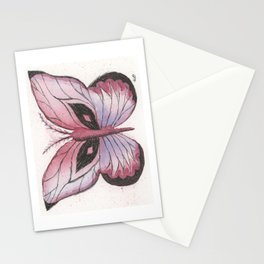 Ink and Watercolor Butterfly in rose colored tones Stationery Cards