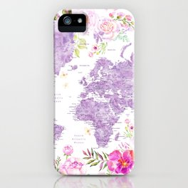 Purple watercolor floral world map with cities iPhone Case