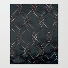 Modern Deco Rose Gold and Marble Geometric Dark Canvas Print
