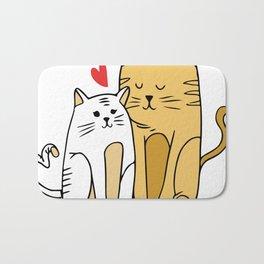 Cartoon Cat Family Bath Mat