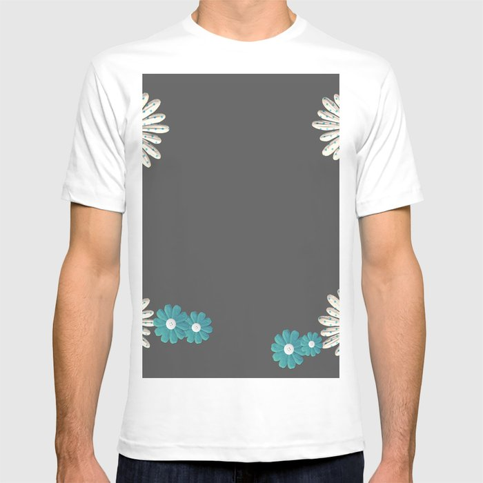 Gray,blue flowers T-shirt