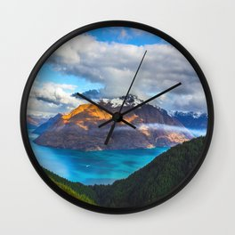 Mid Century Modern Round Circle Photo Beautiful Blue Mountain Lake With Green Pine Forest Wall Clock