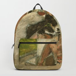 Girl Playing with Puppy Dog Impressionist Oil Painting Backpack
