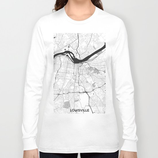 Louisville Map Gray Long Sleeve T-shirt