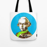 mozart Tote Bags featuring Mozart Kugel Blue by Marko Köppe