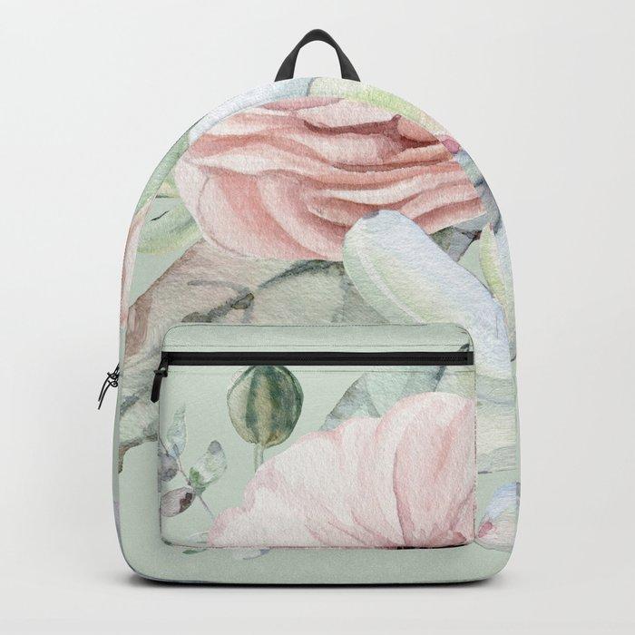 Delightful Mint + Pink Succulents Backpack