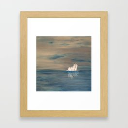 Floating Feather. Original Painting by Jodilynpaintings. Abstract Feather on Water. Framed Art Print