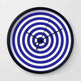 Circles (Navy Blue & White Pattern) Wall Clock