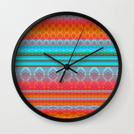Soulful Sunset Dancing Mandala Lines Wall Clock