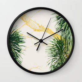 Gold marble texture with palm tree 1 Wall Clock