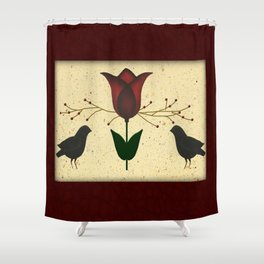 Primitive Tulip And Crows Shower Curtain