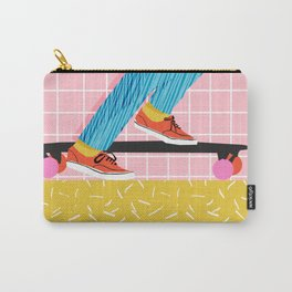Chavvy - memphis skateboarder long boarding retro patterns 1980's trend vibes socal cali beach life Carry-All Pouch