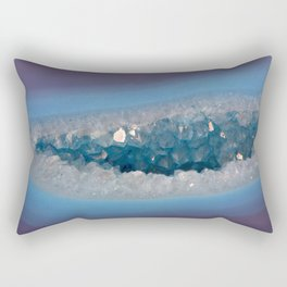 Sparkly Purple and Blue Geode Agate with Crystal Druzy Rectangular Pillow