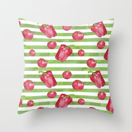 Red Bell Peppers on Green Stripes Throw Pillow