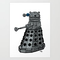dalek Art Prints featuring Dalek by Rebecca Bear