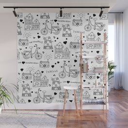 Hello Amsterdam Dutch Hipster travel icons bike and windmill Wall Mural