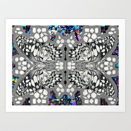 Butterfly Drawing Collage Art Print