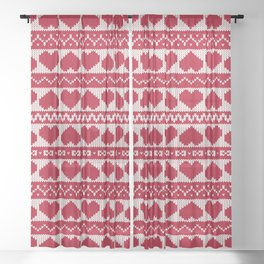 Fair Isle Valentines Day - Red Sheer Curtain