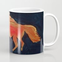 patriots Mugs featuring Red Navy Blue and Silver Acrylic Horse Painting by Melissa's Art