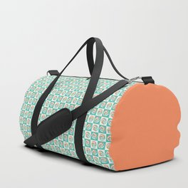 Spinning colourful rings on mint and pale yellow chessboard Duffle Bag