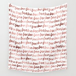 Love Script Rose Gold Typography Pattern 3 Wall Tapestry