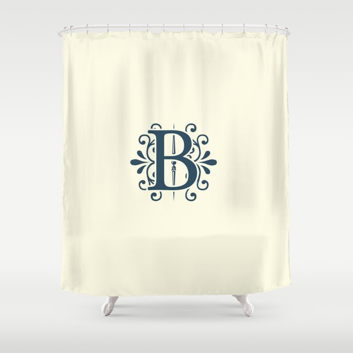 Monogram Letter B In Navy Blue On Champagne Shower Curtain