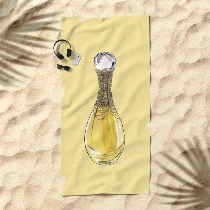 J'adore on Yellow Beach Towel