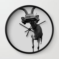 goat Wall Clocks featuring goat by Panic Junkie