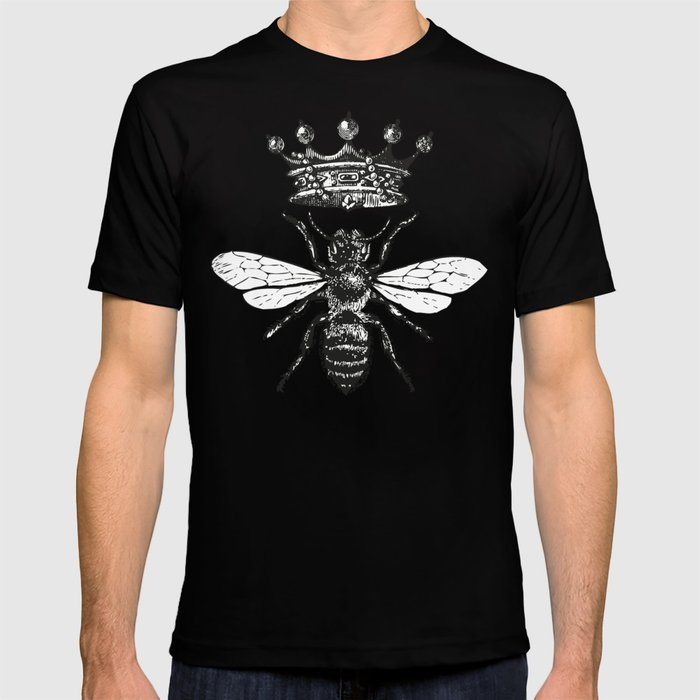Queen Bee | Vintage Bee with Crown | Black and White | T-shirt