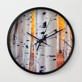 Images USA Colorado Aspen Birch Nature Autumn Fore Wall Clock