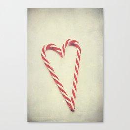 Vintage Christmas Candy Cane Love Heart Canvas Print