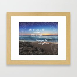 She Dreams of the Ocean Quote Framed Art Print