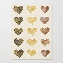 Gold and Chocolate Brown Hearts Canvas Print