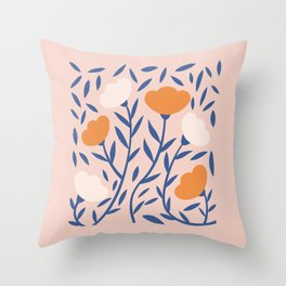 Pretty Floral Blush Throw Pillow