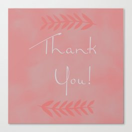 Thank You Card with Leaf Canvas Print