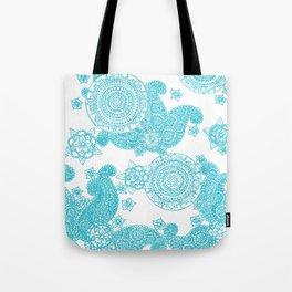 Blue Flower Pattern Tote Bag